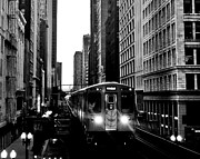 Chicago Black And White Posters - Chicago L Black And White Poster by Benjamin Yeager