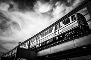 Overhead Posters - Chicago L Elevated Train in Black and White Poster by Paul Velgos