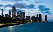 Chicago Attractions Posters - Chicago Lake Front at Blue Hour Poster by Semmick Photo