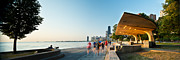 Jogging Prints - Chicago Lakefront Panorama Print by Steve Gadomski