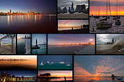 Joggers Prints - Chicago lakefront photo collage Print by Sven Brogren