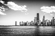 Chicago Black White Posters - Chicago Lakefront Skyline Black and White Picture Poster by Paul Velgos