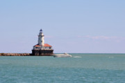 Pier Prints - Chicago Light House with Boat in Lake Michigan Print by Christine Till