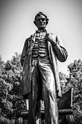Abraham Lincoln Prints - Chicago Lincoln Standing Statue in Black and White Print by Paul Velgos