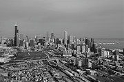 American City Scene Digital Art - Chicago Looking North 01 Black and White by Thomas Woolworth