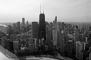 Chicago Looking South 01 Black And White Print by Thomas Woolworth