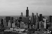 American City Scene Digital Art - Chicago Looking West 01 Black and White by Thomas Woolworth