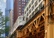 States Metal Prints - Chicago Loop L Metal Print by Christine Till