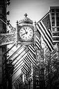 Macy Prints - Chicago Macys Clock in Black and White Print by Paul Velgos