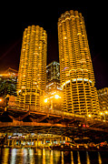 Marina Night Framed Prints - Chicago Marina City Towers at Night Picture Framed Print by Paul Velgos