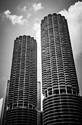 Two Towers Posters - Chicago Marina City Towers in Black and White Poster by Paul Velgos