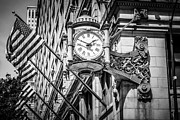 Editorial Framed Prints - Chicago Marshall Fields Clock in Black and White Framed Print by Paul Velgos