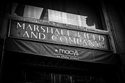 Macy Prints - Chicago Marshall Fields Macys Sign in Black and White Print by Paul Velgos