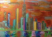 Lake Michigan Painting Originals - Chicago Metallic Skyline by Char Swift