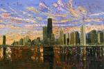 Skyline Painting Posters - Chicago Poster by Mike Rabe