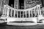 Lighted Park Prints - Chicago Millennium Monument Black and White Picture Print by Paul Velgos