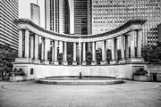 Greek Sculpture Posters - Chicago Millennium Monument in Black and White Poster by Paul Velgos
