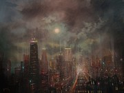 Skylines Painting Prints - Chicago Moon Print by Tom Shropshire