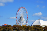 Round Framed Prints - Chicago Navy Pier Ferris Wheel Framed Print by Christine Till