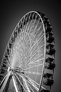 Round Metal Prints - Chicago Navy Pier Ferris Wheel in Black and White Metal Print by Paul Velgos