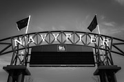 Black And White Photos Prints - Chicago Navy Pier Sign in Black and White Print by Paul Velgos