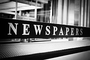 Rack Photo Prints - Chicago Newspapers Stand Sign in Black and White Print by Paul Velgos