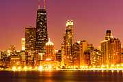 Chicago Prints - Chicago Night Skyline with John Hancock Building Print by Paul Velgos