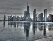 Hancock Building Posters - Chicago on thin ice Poster by David Bearden