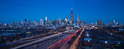 Chicago Illinois Posters - Chicago Panorama Poster by Steve Gadomski