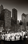 Ice Skate Framed Prints - Chicago Park Skate BW Framed Print by Steve Gadomski