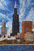 Photomosaic Prints - Chicago Photo Mosaic Print by Wernher Krutein