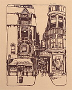 Old Town Drawings Framed Prints - Chicago. Pipers Alley on Wells Street Framed Print by Robert Birkenes