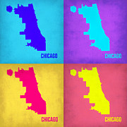 World Map Digital Art Metal Prints - Chicago Pop Art Map 1 Metal Print by Irina  March