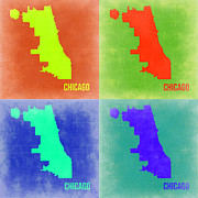 World Map Digital Art Metal Prints - Chicago Pop Art Map 2 Metal Print by Irina  March