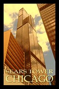Willis Tower Digital Art - Chicago Poster - Sears Willis Tower by Peter Art Print Gallery  - Paintings Photos Posters