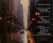 Lamps Mixed Media Posters - Chicago Rain Bright Lights Big City Poster by Anita Burgermeister