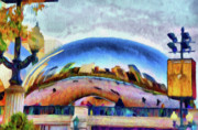 Skylines Digital Art Prints - Chicago Reflected Print by Jeff Kolker