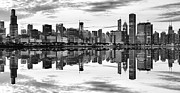 Chicago Black White Posters - Chicago Reflection Panorama Poster by Donald Schwartz