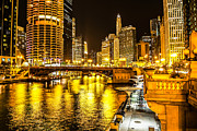 Marina Night Framed Prints - Chicago River Architecture at Night Picture Framed Print by Paul Velgos