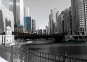 Merchandise Framed Prints - Chicago River at Franklin Street Framed Print by David Bearden