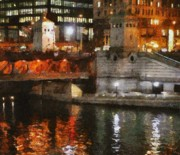 Bridges Digital Art Prints - Chicago River at Michigan Avenue Print by Jeff Kolker