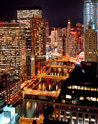 Chicago River Prints - Chicago River at Night Print by Thomas Firak