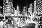 Buildings Posters - Chicago River Buildings at Night in Black and White Poster by Paul Velgos
