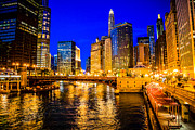 Architecture Framed Prints - Chicago River Buildings at Night Picture Framed Print by Paul Velgos