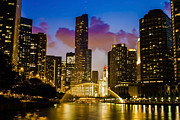 Riverwalk Prints - Chicago River Dusk Scene Print by Sven Brogren