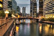 Water St Chicago Photos - Chicago River Evening by Steven K Sembach