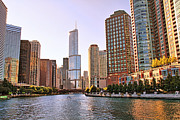 Chicago Reflections Posters - Chicago River Reflections Poster by Jack Schultz