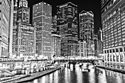 Riverfront Framed Prints - Chicago River Skyline at Night Black and White Picture Framed Print by Paul Velgos