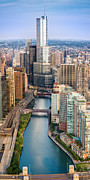 Aerial Originals - Chicago River Sunrise by Steve Gadomski