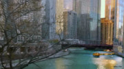 Skyline Drawings - Chicago River Sunset by Jeff Kolker